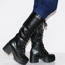 WOMENS BLACK KNEE HIGH LACE UPS CHUNKY BIKER BOOTS CLEATED PLATFORMS HIGH HEELS