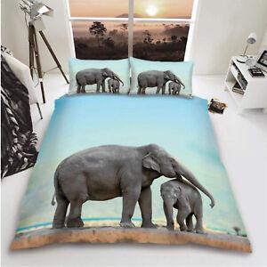3D Elephant Duvet Cover Quilt Cover Bedding Set Single Double King Sizes