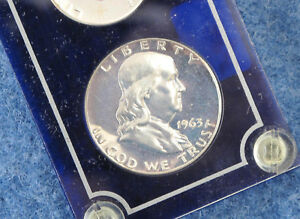 1963 US Silver Proof Set in Blue Capital Lucite Frosted Franklin Obverse E1063