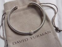$850 DAVID YURMAN Sterling Silver CABLE CLASSICS PAVE DIAMOND BRACELET #16122