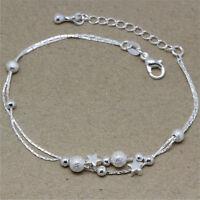 Frauen ziemlich Silber Farbe Stern Kette Armband Mode Perlen Armbänder AB