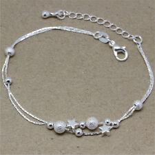 Women Pretty Silver Color Star Chain Bracelet Fashion Beads Bracelets Bangles FO