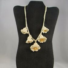 Antique Hand Crochet Necklace White Bell Flowers Yellow Center Snap Close