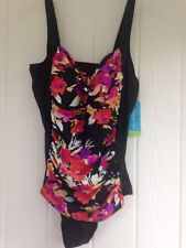 Size 14 Swimsuit New Tags $84 Adjustable Straps 1 Piece Black/Floral women's