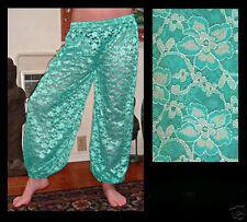 Harem Pants Belly Dance Lace Aqua Blue Green w/ Silver Floral Pattern