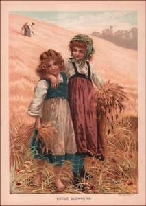 GIRLS PICKING WHEAT IN THE FIELD, antique chromolithograph original 1890