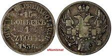 POLAND RUSSIA Nicholas I Silver 1836 MW 1 Zloty 15 Kopecks  SMALL CROWN  C# 129