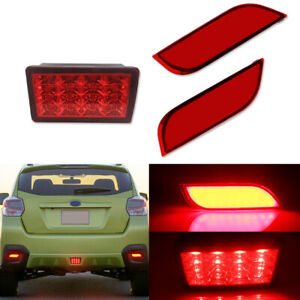 3X Rear Bumper Reflectors Red Lens Tail Brake Lamp For 13-up Subaru XV CrosstreK