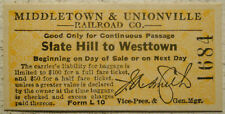 Middletown & Unionville Railroad (New York) ticket Slate Hill to Westtown