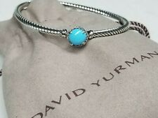 David Yurman Sterling Silver 3mm Cable  W/ Turquoise Stone Chatelaine Bracelet