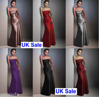UK Stock Long Evening Formal Party Ball Gown Prom Wedding Bridesmaid DressSz6-18