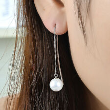 Genuine 925 Sterling Silver 10mm Pearl Drop Bar Thread Threader Dangle Earrings