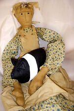 "Primitive Hog Farmer's Wife Doll & Pig - Primitive Folk Art Ooak 36"""