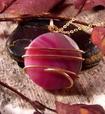 Colorful Vibrant Agate Slice Pendant Necklace Talisman Pendant in Bronze #23