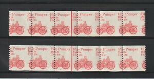 US EFO, ERROR Stamps: #1908 Fire Pumper. PS6 #15 & 16 Misperf Matched set. MNH