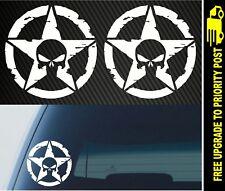 2x Army Military Star skull JEEP Off road 4x4 decals Car Vinyl 4wd stickers