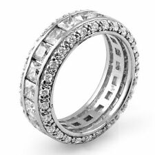 4.00 Ct Princess Diamond Anniversary Eternity Wedding Band Ring 14K White Gold