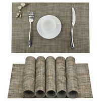 Vinyl Placemats Washable Dinner Table Mats Heat Resistant Woven Brown Set of 6
