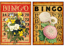 Floral Bingo #1 - Set of TWO 5x7 Flower Collage Fabric Blocks - BUY 2, GET 1