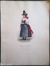 COSTUME Autriche Hongrie Suisse Gravure Originale 19e Aquarellée Pelcoq Morse 03