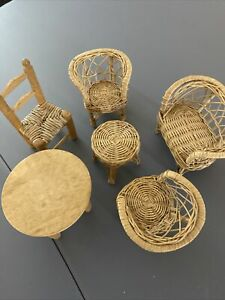 5 Piece Doll Furniture Solid Wood And Rattan