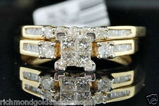 0.43ct Yellow Gold Quad Princess Cut Diamond Engagement Bridal Set Wedding Ring