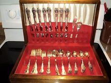 NEW ELEGANCE Gorham silverplate 52pc COMPLETE SET For 8 in Chest