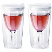 Vino2Go Double Wall Insulated Acrylic Wine Tumbler with Frost Slide Lid, 2 Pack