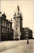 Mainz Rheinland Pfalz alte Ansichtskarte ~1930 Straßenpartie am Holzturm Laterne