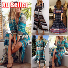 Women Boho Long Maxi Dress Floral Summer Party Evening Beach Sundress Plus Size