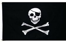 3 x 5 ft. Pirate Flag Jolly Roger Skull Crossbones Black Sign Bones Grommets
