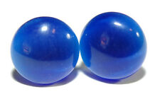 ROYAL BLUE FIBER OPTIC CATS EYE STUD EARRINGS (S081)