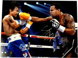 Sugar Shane Mosley Signed Autograph 16x20 Photo VS Manny Pacquiao Punch Gold Ink