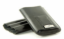 3 cigar black leather telescopic Travel case with cutter!