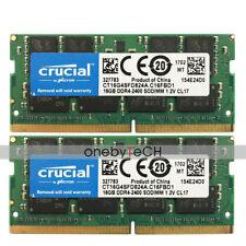 Crucial 32GB 2x16GB PC4-19200 PC4-2400T SODIMM DDR4 2400 260PIN 1.2V CL17 Memory