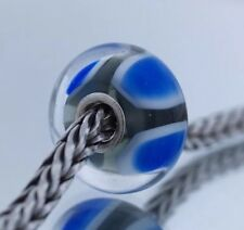 Authentic Trollbeads BLUE SYMMETRY Bead Sterling Silver .925 Glass 61411