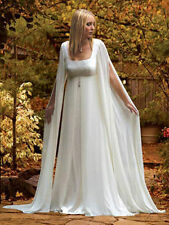 Mediaeval With Long sleeves White/Ivory Beach Bridal Gown Chiffon Wedding Dress