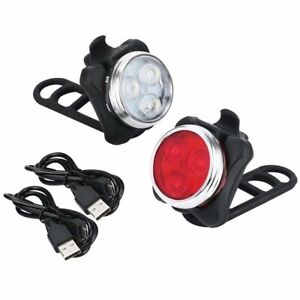 CYCLE BIKE BICYCLE  LED LIGHT SET CYCLING HEADLIGHT TAILLIGHT USB Rechargeable
