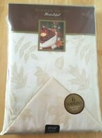 HOMEWEAR Dinner Party Bountiful Ivory Damask Tablecloth 60x84 oblong, 6 Napkins