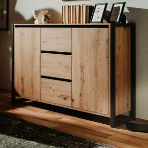 Kommode Denver Sideboard Artisan Eiche Industrial Look Design Anrichte 120x88 cm