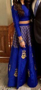Blue Bridal Lengha Wedding Skirt Blouse