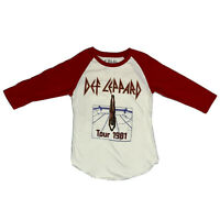 Def Leppard T-Shirt Tour 1981 Raglan 3/4 Sleeve Red Graphic Tee Women's SZ XS