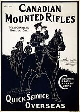 WW1 RECRUITING POSTER CANADIAN MOUNTED RIFLES NEW A4 PRINT CANADA