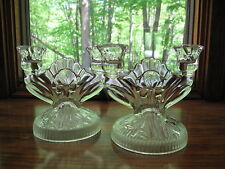 Vintage Jeanette Glass Iris & Herringbone Clear Glass Candlesticks Pair