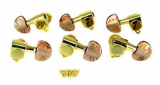 6pc Beautiful Gold 3L/3R Sealed-Gear Tuners with Mocha Pearloid Buttons 31-72-01