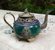 Antique Chinese Jade Teapot Tibetan Silver Ornate Monkey Frog 1930s Buddhist Art