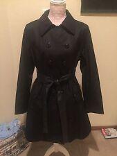 New Womens DONNA KARAN DKNY  Military Style Trench Coat Black XL $360