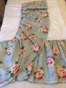 """Vintage Ralph Lauren Queen Bedskirt Dust Ruffle Roses Cottage Lane 15"""" Drop"""