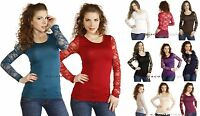 Sexy Basic Sheer Full LACE BACK Floral Long Sleeves Stretch Casual Tee Shirt Top