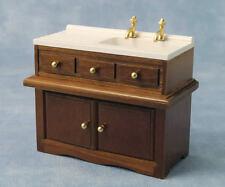 Wooden Sink Unit With White Sink & Gold Taps, Dolls House Miniature, Kitchen